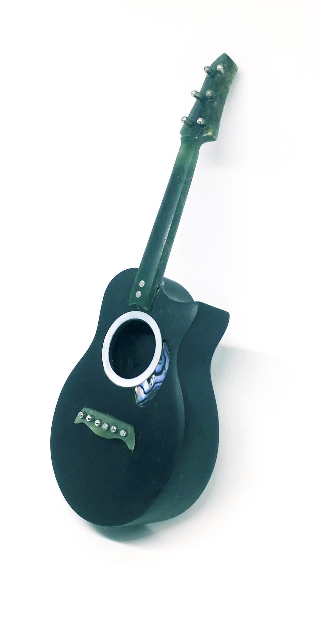 N.z Greenstone Pounamu Acoustic guitar on pakohe base