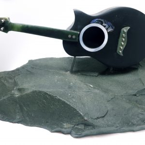 N.z Greenstone Pounamu Acoustic guitar on pakohe base
